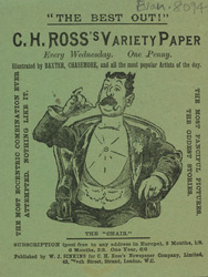 Advertisement for CH Ross's Variety Paper, comic
